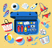 Summer seaside vacation vector set with open travel suitcase and beach accessories lying on sand.