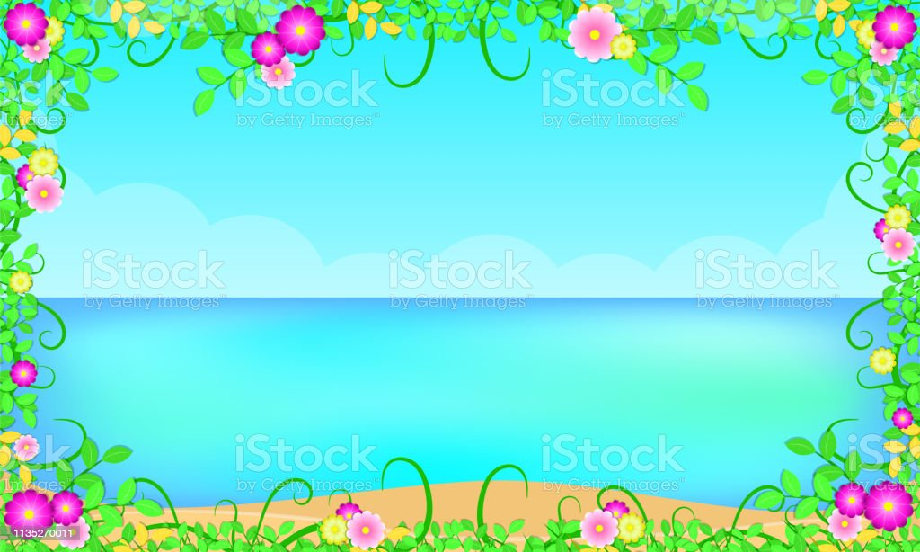 Sommersaison Strand Rund Um Mit Blatten Blühen Schönen Blauen Himmel