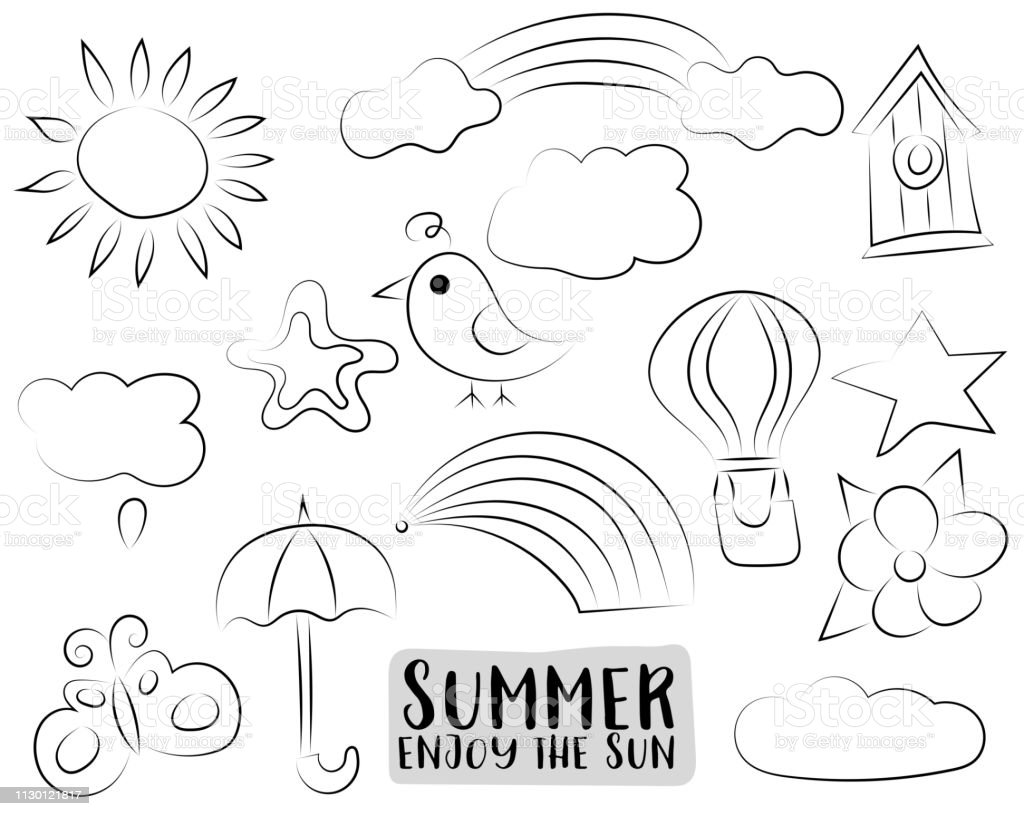 Summer Season Concept Icons Black And White Outline Coloring Page Kids Game Vector Illustration Stock Illustration Download Image Now Istock