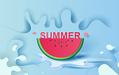 Summer season concept Slice of watermelon on blue water splash. Hello Hello Summer Lettering .Juicy ripe fruit the pastel color. Creative design Paper cut and craft style. Graphic vector. illustration