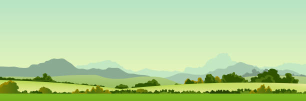 Summer Season Country Banner Vector illustration of a wide summer season country banner or header for your web site. Vector illustration and high resolution jpeg files included (Uploaded with model release of self made mountains shapes) valley stock illustrations