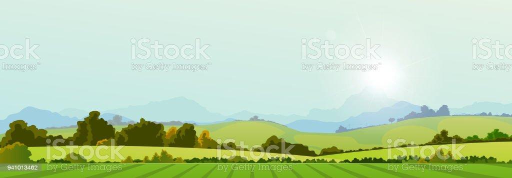 夏季の国のバナー ベクターアートイラスト