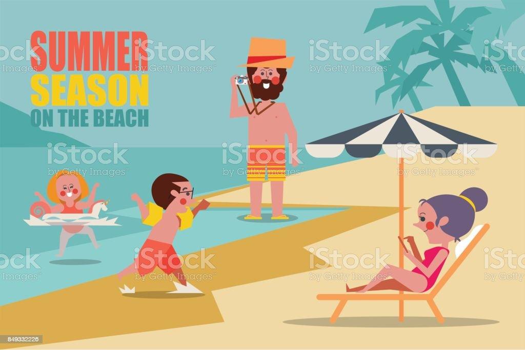 Summer season family on the beach Character people design flat style vector art illustration