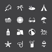 Summer Season Icons White Series Vector EPS10 File.