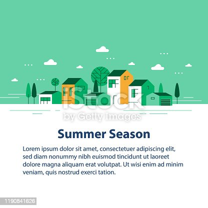 istock Summer season in small town, tiny village view, row of residential houses, beautiful green neighborhood 1190841626