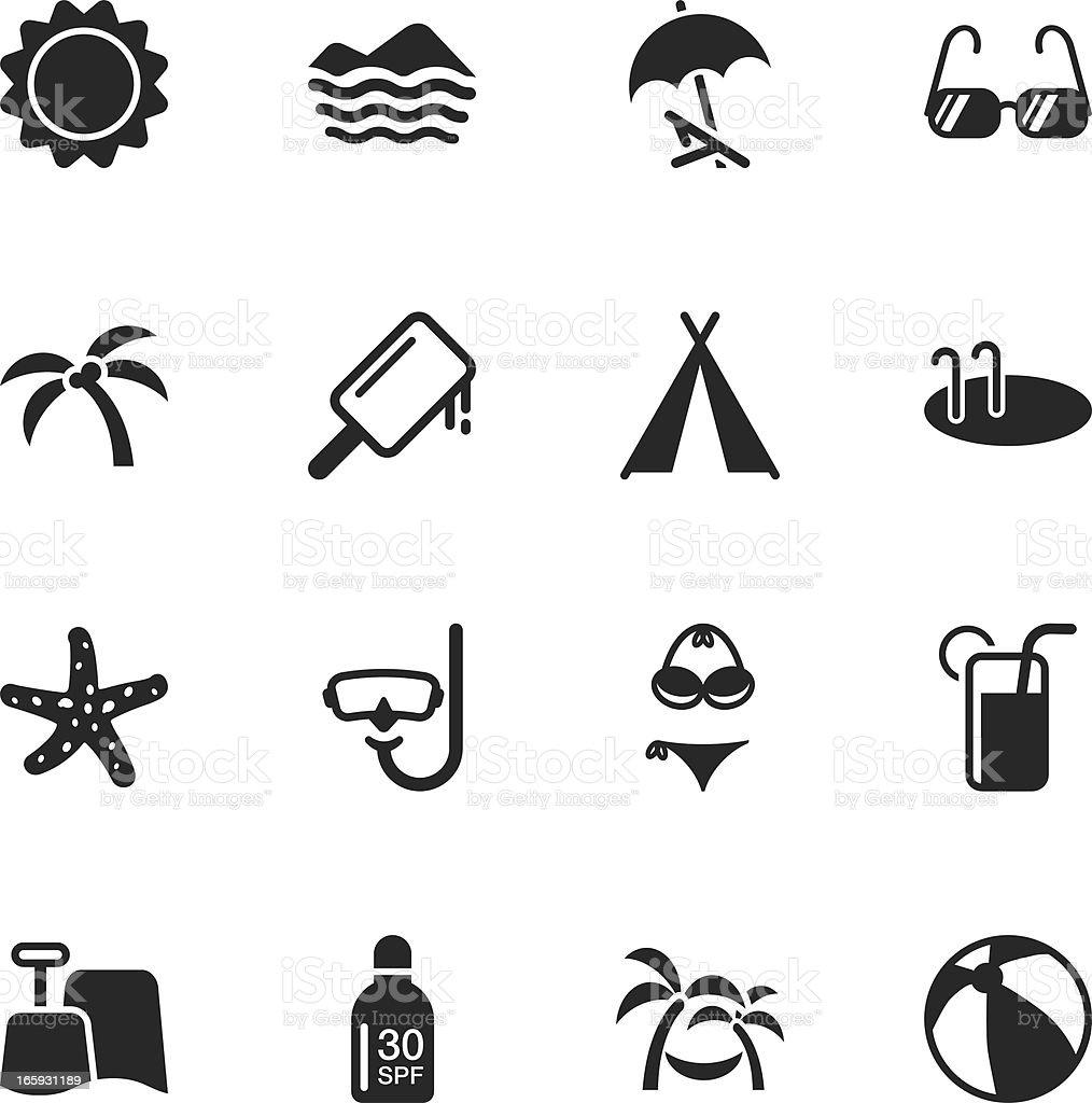 Summer Season Silhouette Icons royalty-free stock vector art