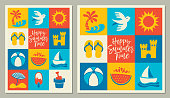 istock Summer Season square icons greeting cards 1193547145