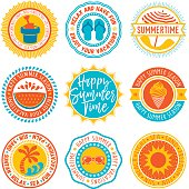 Vector circular labels and seals on summer and vacations theme