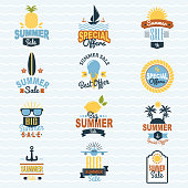 Some shopping big mega hand drawn collection of labels. Summer seasonal sale shopping offer logo badge discount vector illustration summertime vacation travel sunny logotype