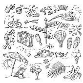 Summer set. Doodle style. Hand drawn vector illustration.