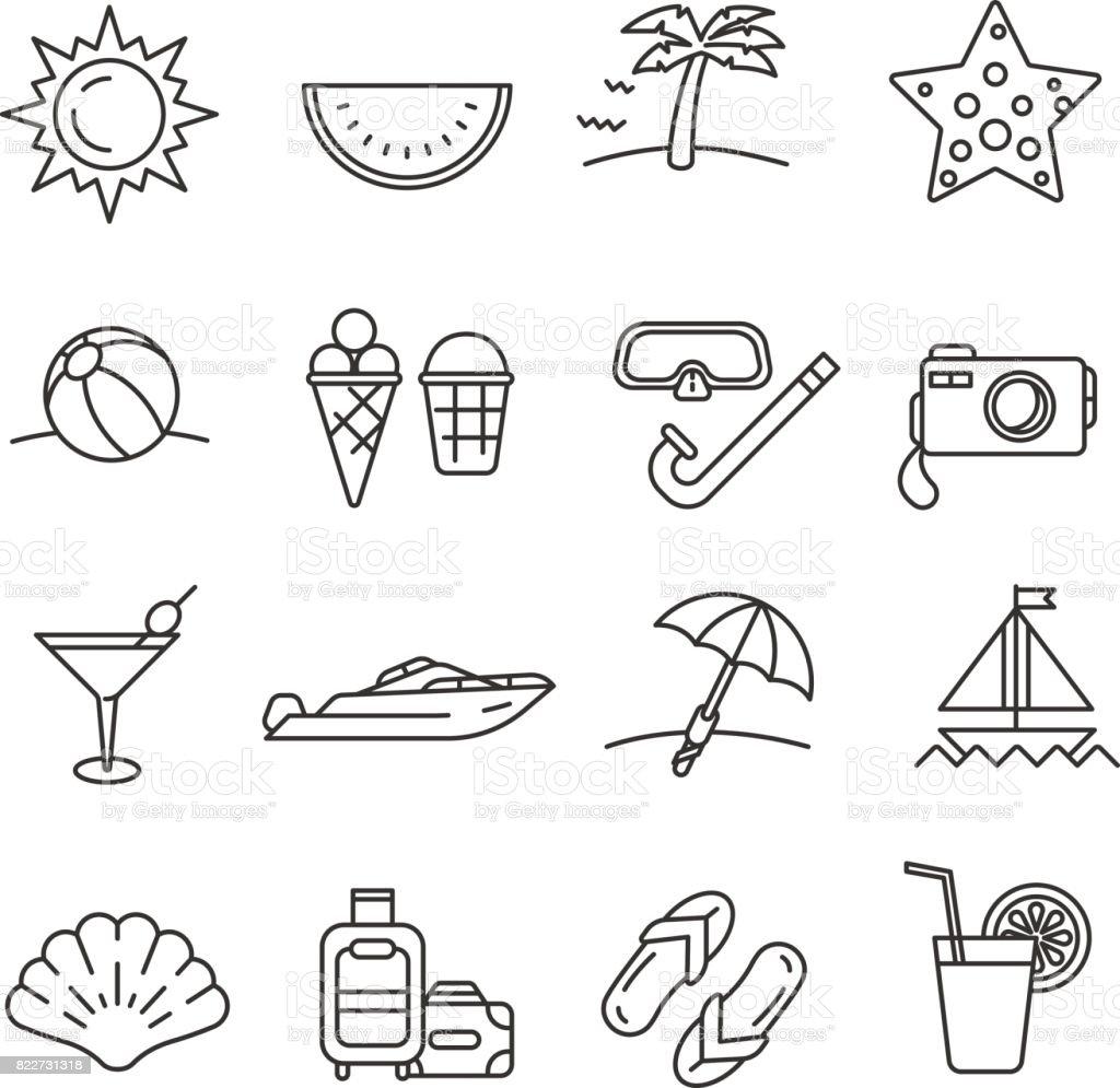 夏。線のアイコンのセット ベクターアートイラスト