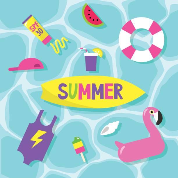 ilustrações de stock, clip art, desenhos animados e ícones de summer set: pool party / flat editable vector clip art - brinquedos na piscina