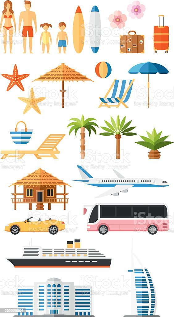 Summer Set vector art illustration