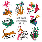 Summer set of colorful design compositions with wild animals, birds and plants. Leopard, crocodile, lemur, monkey, toucan, parrot and ibis illustrations.