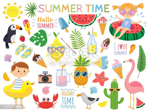 Summer set with cute elements.Funny fruits, drinks, tropical. leafs, ice cream and bird. Kids on swimming circles.Vector illustration on white background