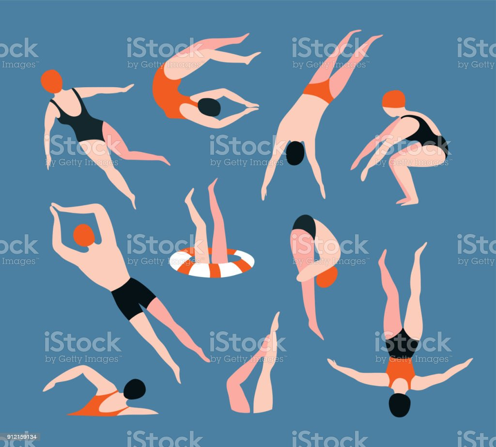 Summer  set with swimming people isolated on the blue background. Summertime vector illustration with swimmers drawing in flat style. vector art illustration