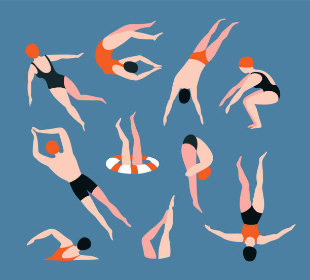 Summer  set with swimming people isolated on the blue background. Summertime vector illustration with swimmers drawing in flat style. Summer  set with swimming people isolated on the blue background. Summertime vector illustration with swimmers drawing in flat style. diving into water stock illustrations
