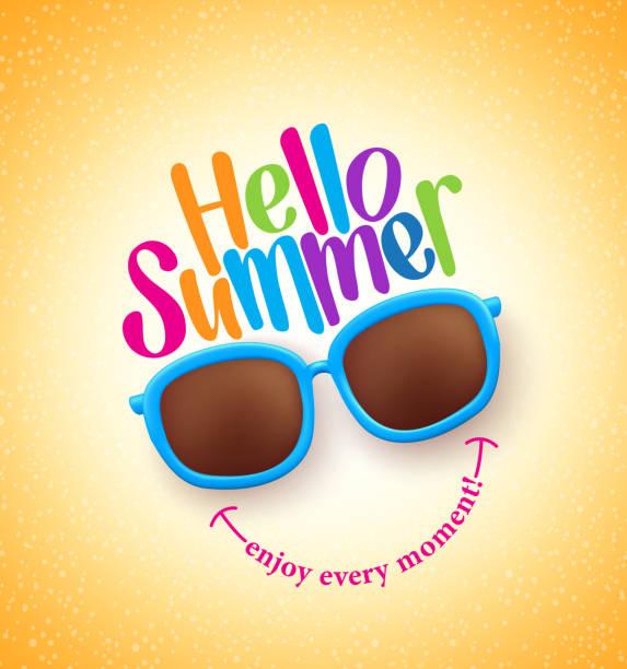 illustrations, cliparts, dessins animés et icônes de lunettes de soleil de l'été avec bonjour été heureux coloré concept - divertissement plaisir