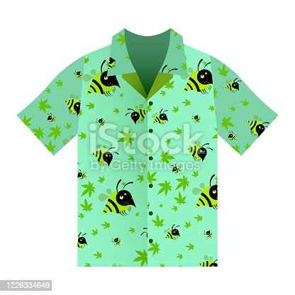 Summer shirt with short sleeves green light. Ornament of hemp leaves and funny bees. Summer clothes. Isolated vector on white