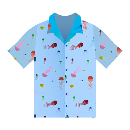 Summer shirt with short sleeves in blue. Marine ornament with cartoon jellyfish. Summer clothes. Isolated vector on white