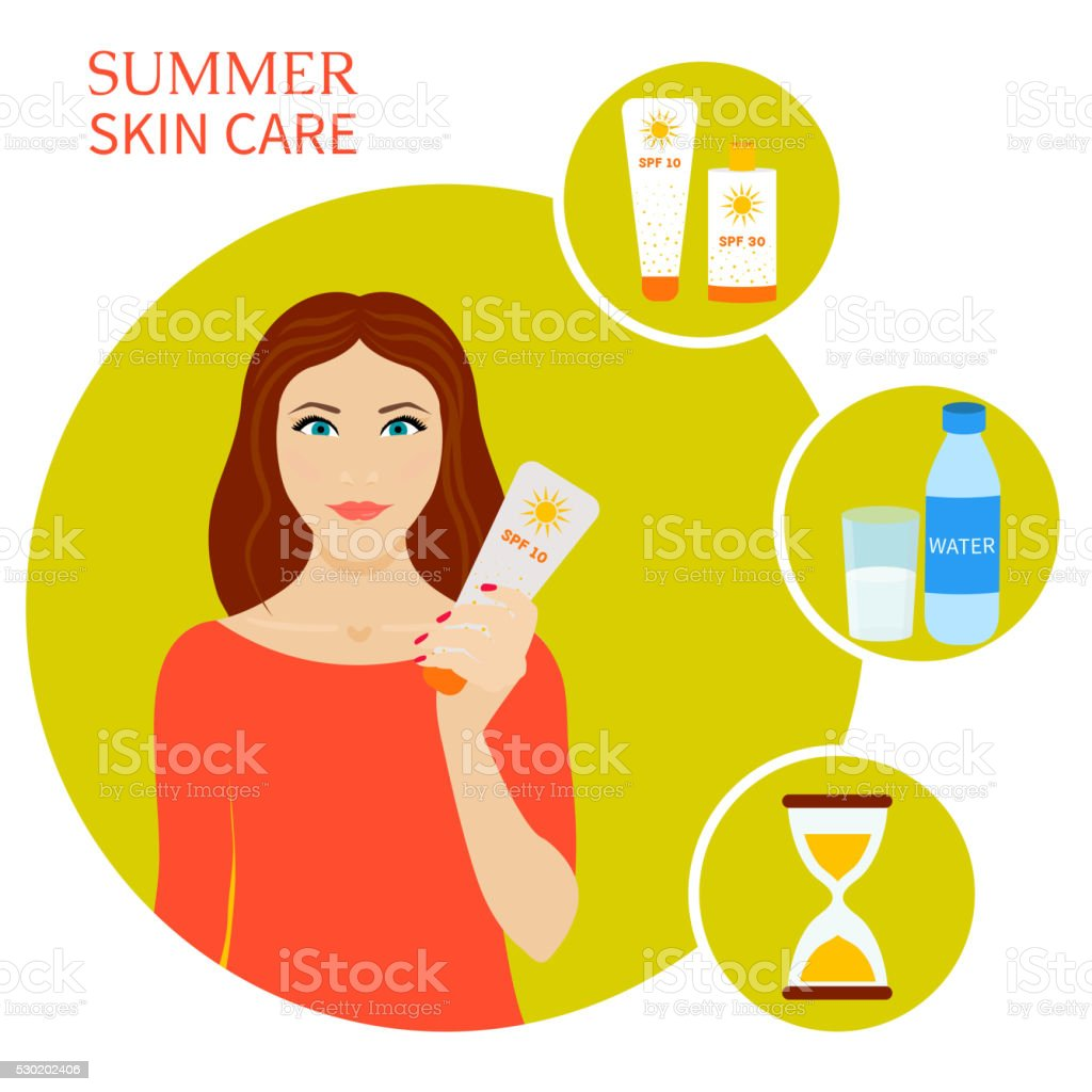 Summer skin care set vector art illustration