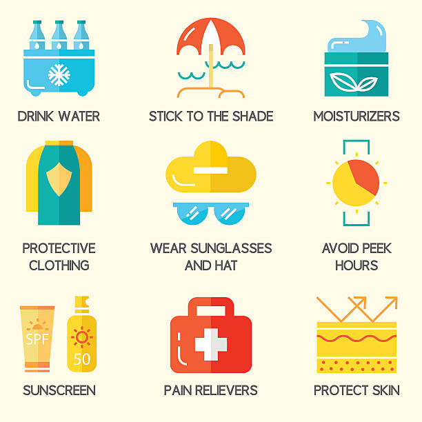summer skin protection icons. - sun cream stock illustrations
