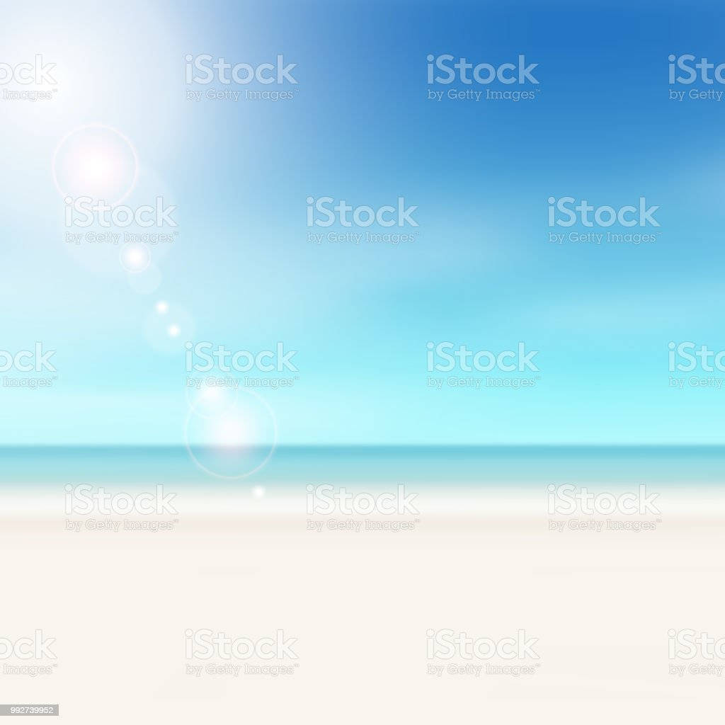 summer sky background gradient travel concept with beach scene stock