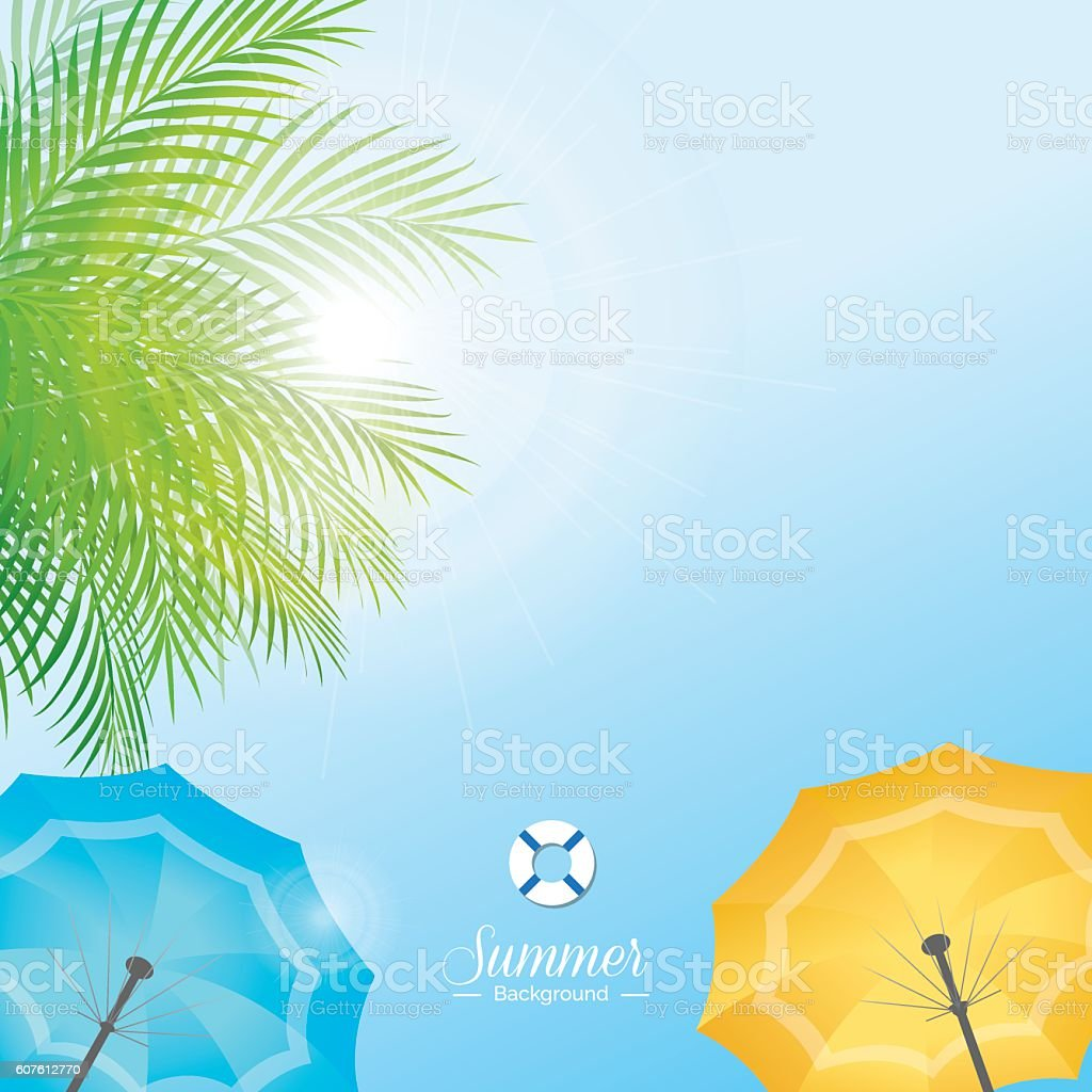 summer sky with green coconut leaves and colorful beach umbrella
