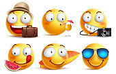 Summer smileys vector set with facial expressions. Yellow smiley face emoticons