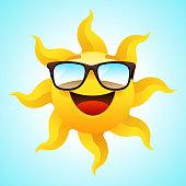 Summer smiling Sun wearing glasses