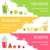Summer smoothie. Horizontal banners of various smoothie drinks. Vector smoothie fresh fruit drink, juice cocktail banner illustration
