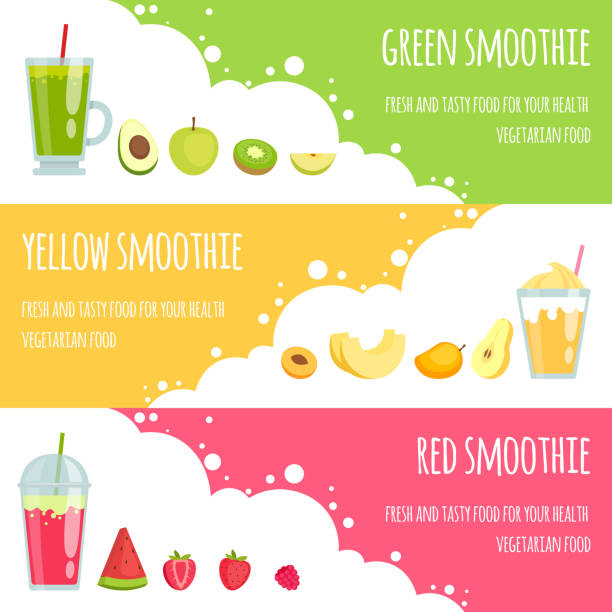 illustrazioni stock, clip art, cartoni animati e icone di tendenza di summer smoothie. horizontal banners of various smoothie drinks - healthy green juice