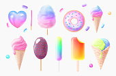 Set of multicolored snacks set preview. Ice cream and cold desserts of various flavors. Multi-colored delicious summer snacks. Realistic illustration isolated on white background 3d. Two-color cotton candy, donut.