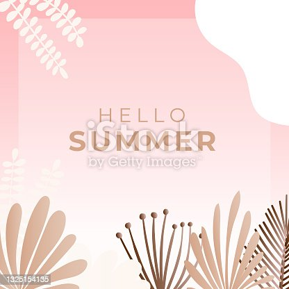 Summer social media banner with flowers and tropical summer leaf. Instagram post template with summer theme
