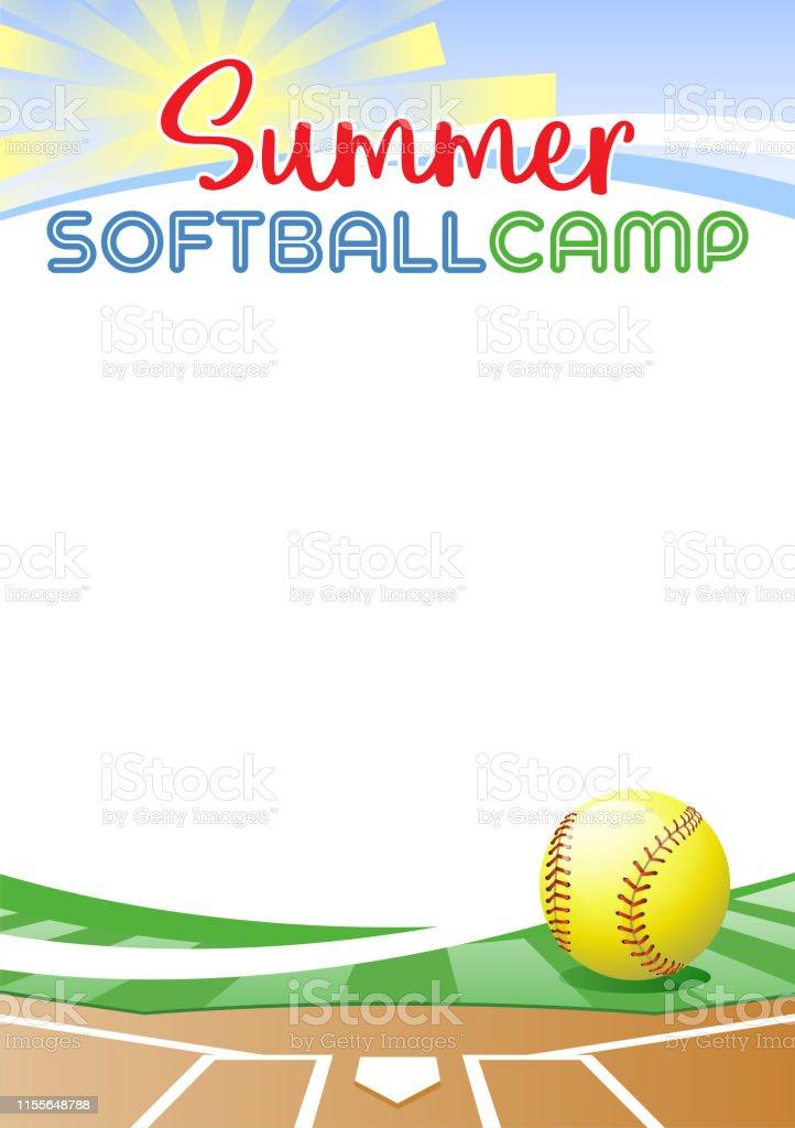 Summer Softball Camp. Template poster with realistic softball ball....