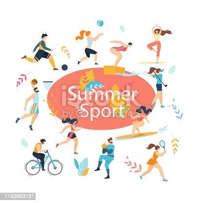Summer Sport Activities Set. Sportsmen Workout