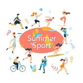 Summer Sport Activities Set. Sportsmen, Sportswomen Characters Workout. Swimming, Basketball, Biking, Athletics, Gymnastics Exercises, Surfing, Golf, Baseball, Tennis. Cartoon Flat Vector Illustration