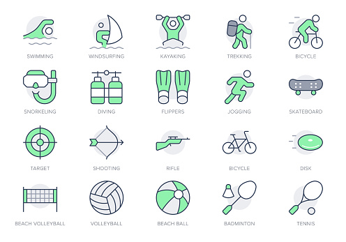 Summer sport simple line icons. Vector illustration with minimal icon - beach games, kayak, badminton, skateboard, diving, cycling, windsurfing, jogging pictogram. Green Color, Editable Stroke