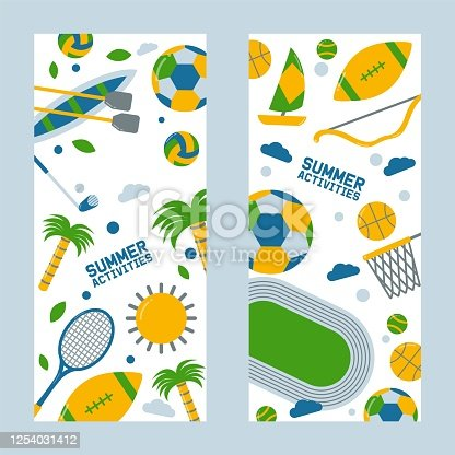 istock Summer sports and outdoor activities, Brazil event, volleyball ball, tennis racket, palm tree, kayak, football field icon. 1254031412
