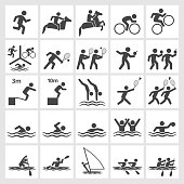 Summer Sports black and white royalty free vector interface icon set. This editable vector file features black interface icons on white Background. The interface icons are organized in rows and can be used as app interface icons, online as internet web buttons, and in digital and print.