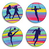 Summer Sports buttons. Vector
