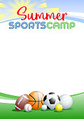 Summer Sports Camp. Template poster with different Sports Balls. Place for your text message. Vector illustration.