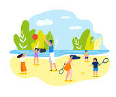 Summer Sports Games on Beach for Whole Family. Vector Illustration on White Background. In Summer Adults and Children in Beach Clothes Play Volleyball and Badminton on River Bank.