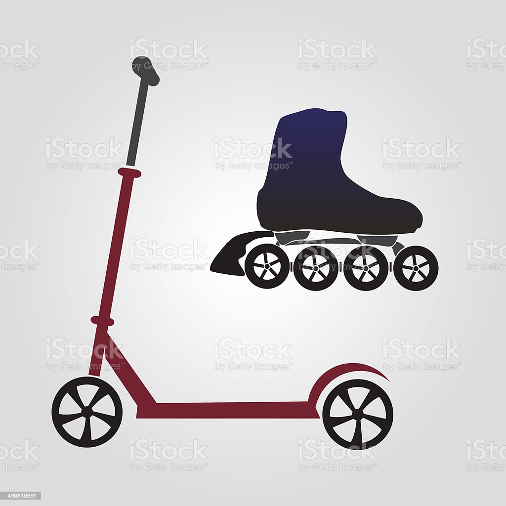 summer sports - scooter and inline skate eps10 vector art illustration