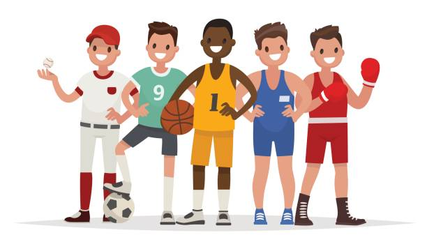 Summer sports. Set of players in baseball, basketball, soccer, Greco-Roman wrestling and boxing vector art illustration