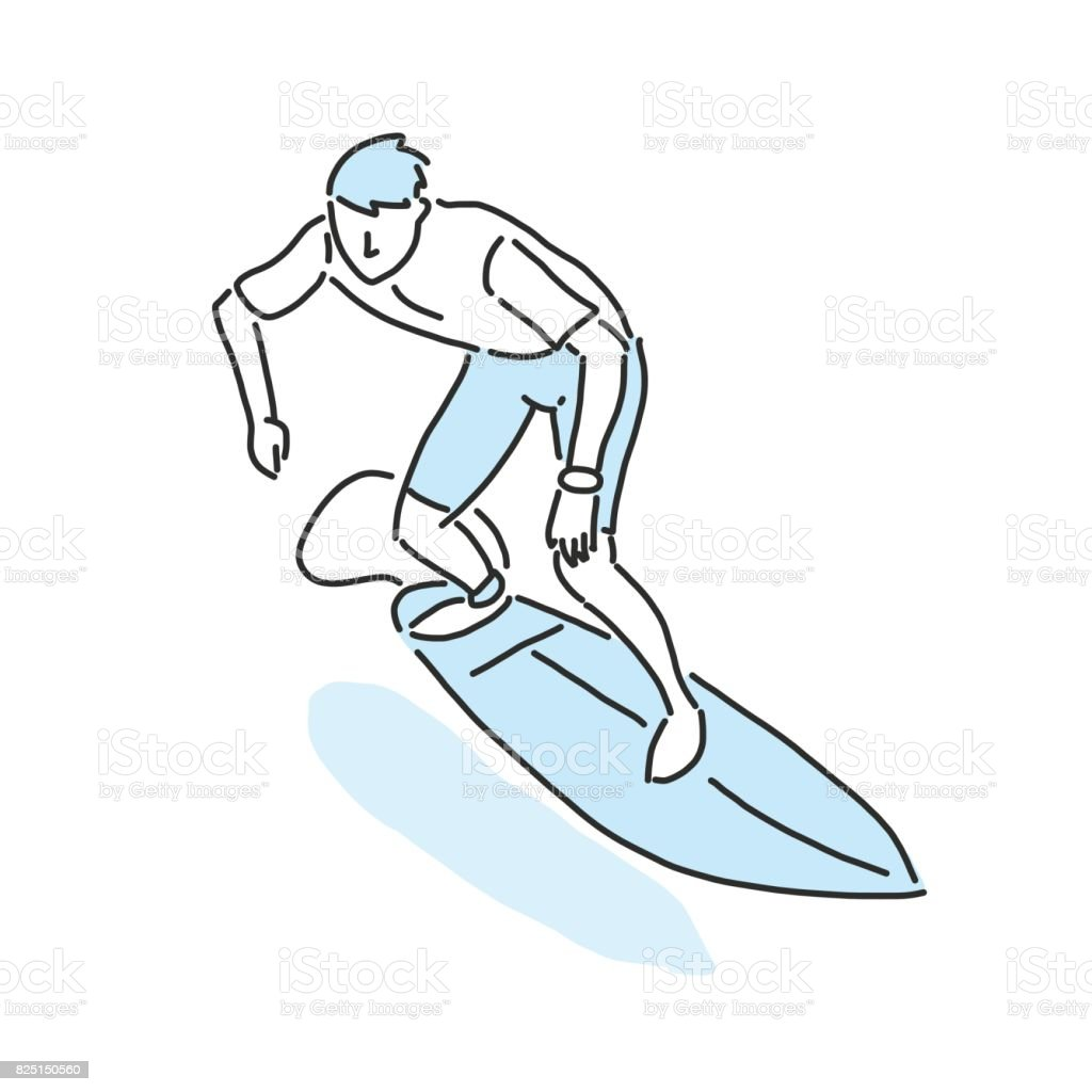 Drawing Lines Surf Movie : Summer sports surfing in variety poses hand drawn line