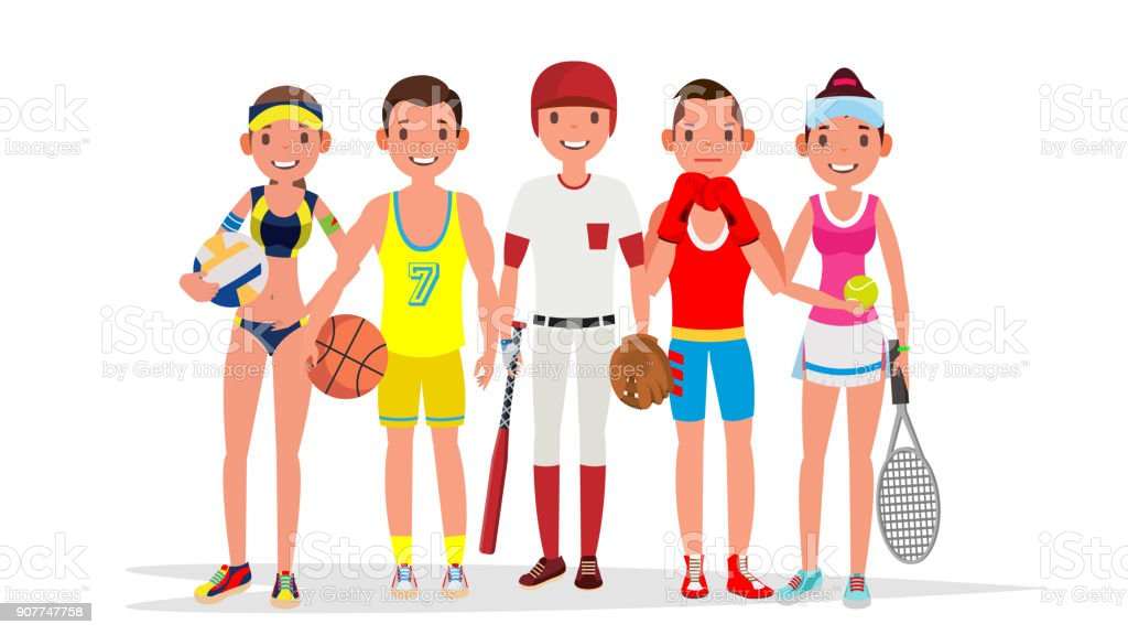Summer Sports Vector. Set Of Players In Boxing, Basketball, Volleyball, Baseball. Isolated On White Flat Cartoon Illustration vector art illustration