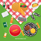 Vector illustration family picnic. Summer, spring barbecue and picnic icons set. Snacks taco, beer.
