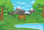 Summer, spring day vector illustration. Wooden bench by the lake with lush green bushes and trees. Green meadows, snowy mountains and blue sky with clouds in the background.