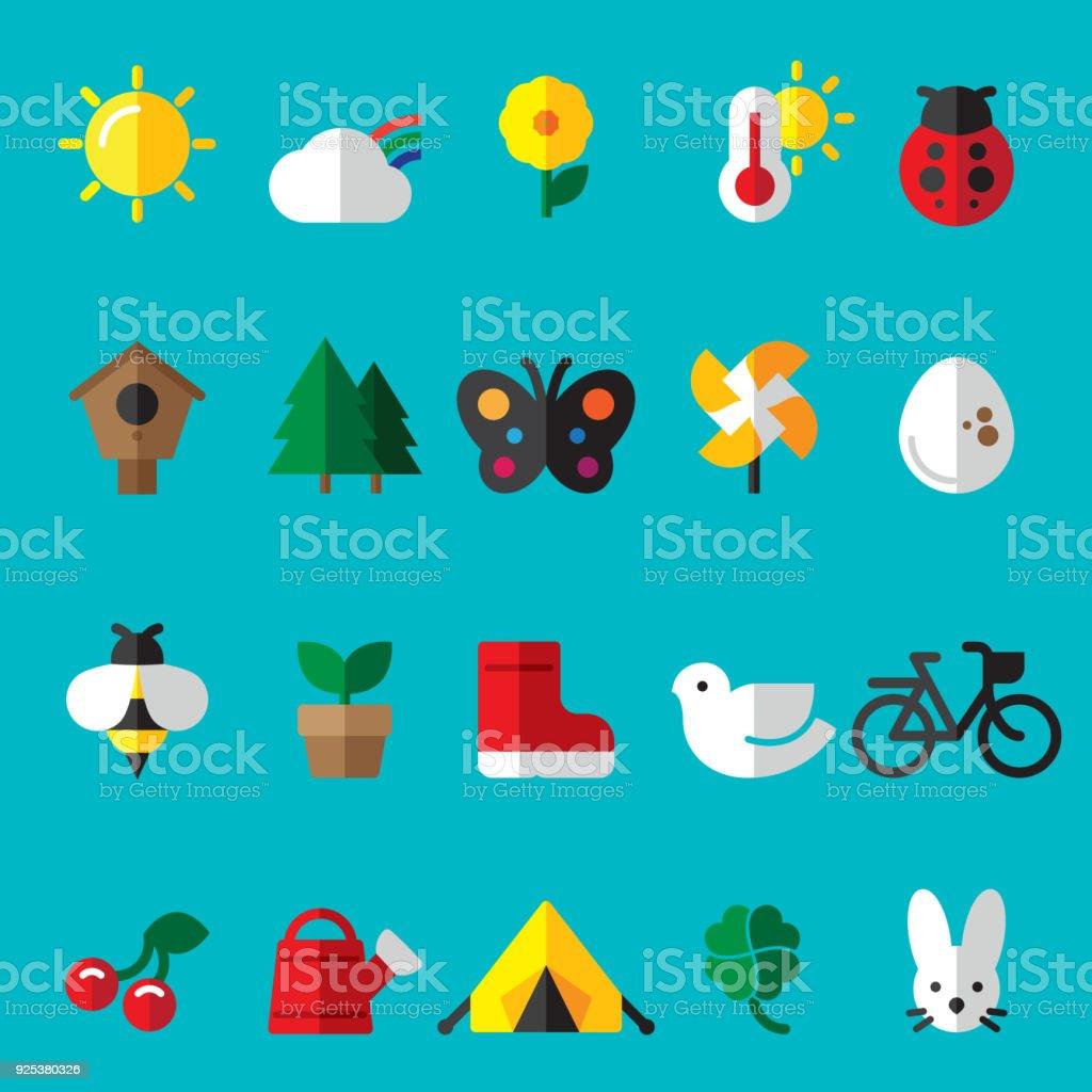 Summer Spring Flat Icons vector art illustration
